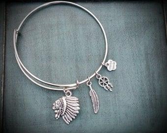 Native American Indian Adjustable Charm Bracelet