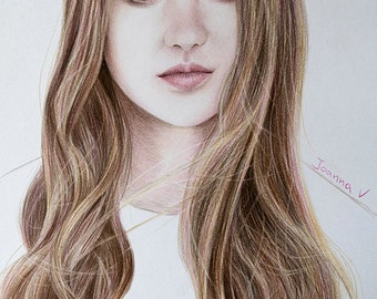 Shailene Woodley Original Fine Art Colored Pencil Drawing