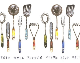 Kitchen Utensils Giclee print
