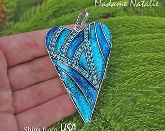 Blue Rhinestone Enamel Heart Pendant, Big Heart Pendant, Long Sweater Heart Necklace Pendant, Heart in Shades of Blue, Big Blue Heart