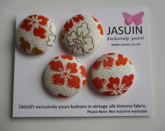 4 buttons made from vintage Japanese silk kimono fabric. Orange and Cream. 29mm.
