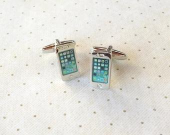 iPhone Cufflinks Smart Phone Cuff Links in Silver