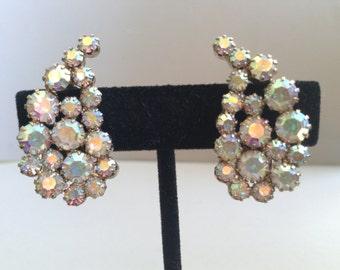Aurora Borealis Paisley Rhinestone Clip Earrings