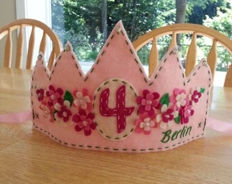 Pink Flower Princess Crown