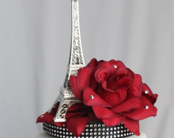Red Rose and Paris Eiffel Tower Cake Topper, Wedding, Sweet 16, Quince, French Party, Centerpiece, overthetopcaketopper