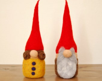 Needle Felted Forest Gnome - Old Couple - Item #16
