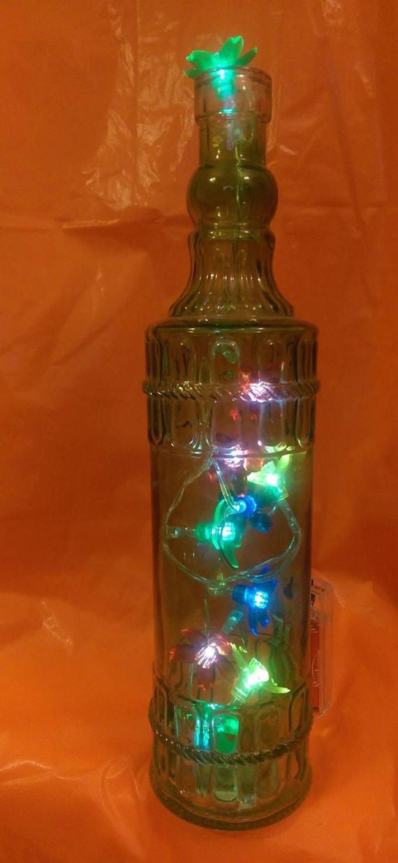 Wine Bottle Lighted Handmade Decorated Decorative Decor
