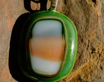 Earthy Green Fused Glass Necklace