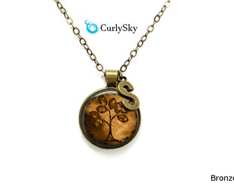 Brown Necklace Caramel Brown Necklace Pendant Brown Tree Initial Necklace Old Vintage Brown Pendant Caramel Tree Jewelry Brown Tree Necklace