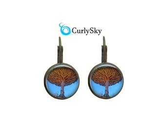 Sky Blue Earrings Brown Tree Earrings Sky Blue Jewelry Sky Blue Tree Earrings Brown Tree Branch Earrings Brown Branch Tree Earrings Jewelry