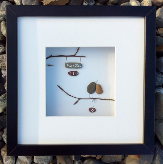Unique Wedding Gifts Ireland : Unique wedding gift from Ireland, personalized pebble art love memento ...