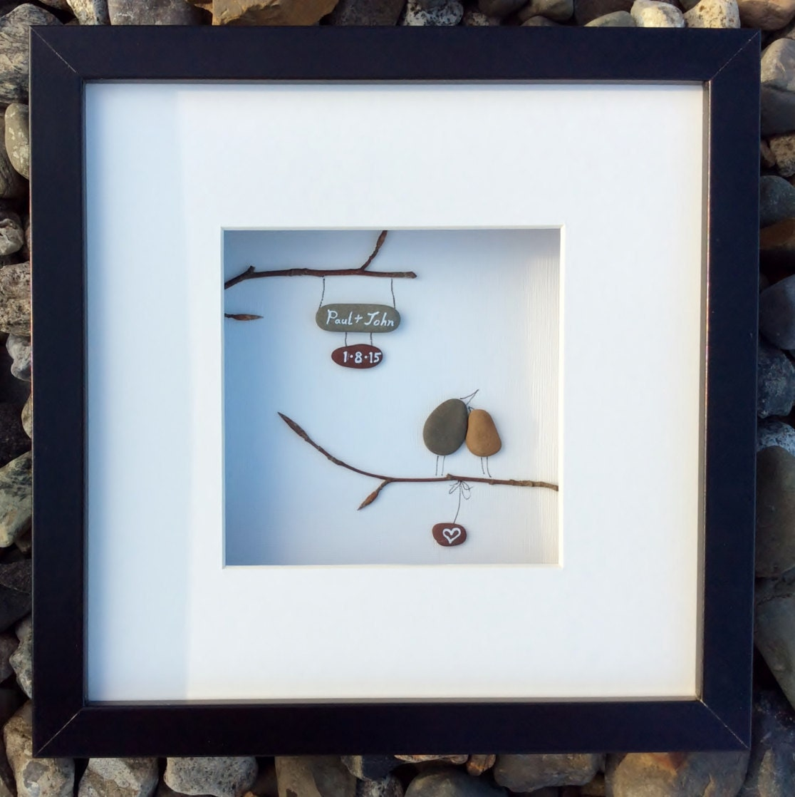 Wedding Gift Baskets Ireland : Unique wedding gift from Ireland personalized pebble art love