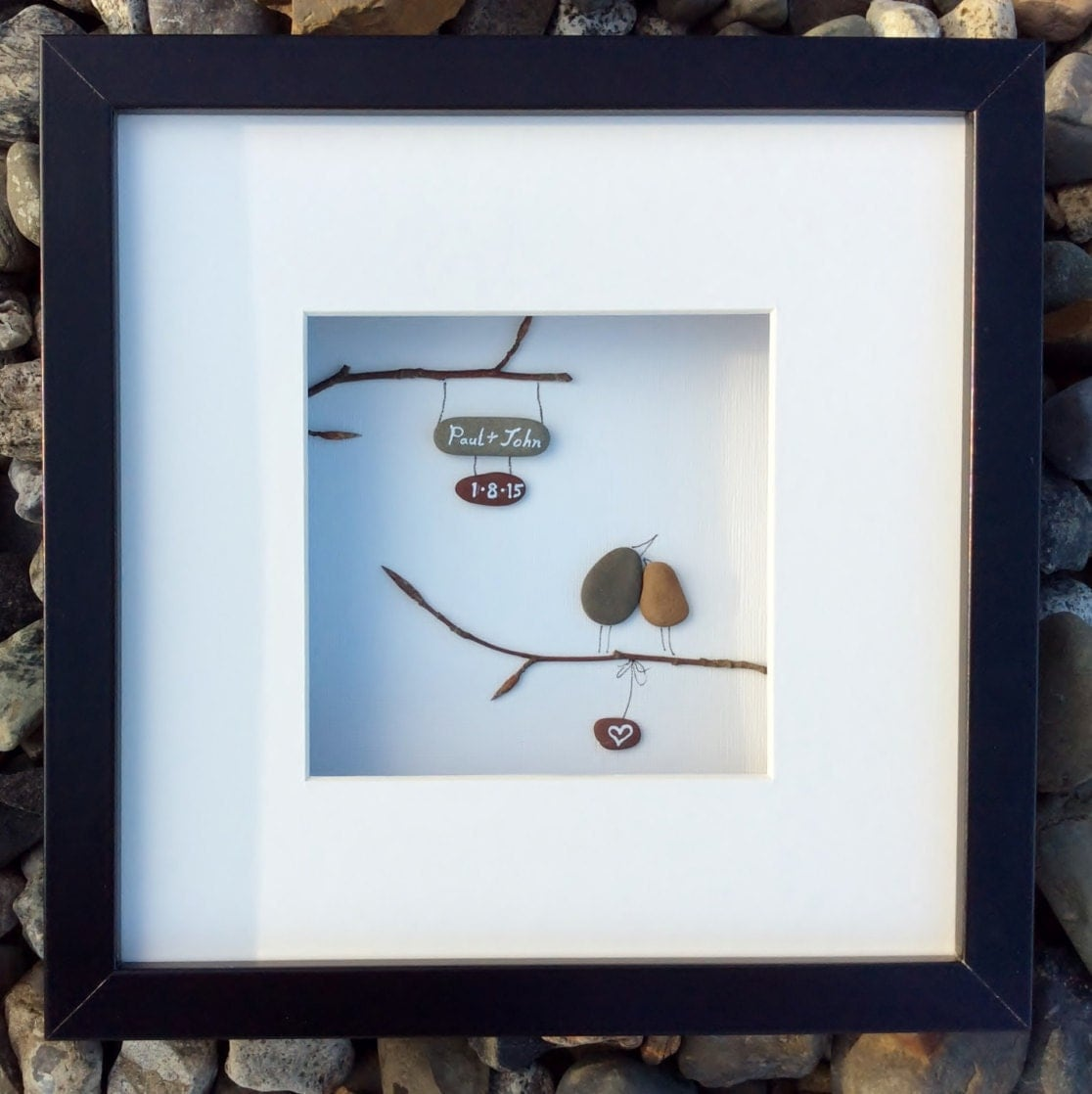 Unique Wedding Gift From Ireland Personalized Pebble Art Love