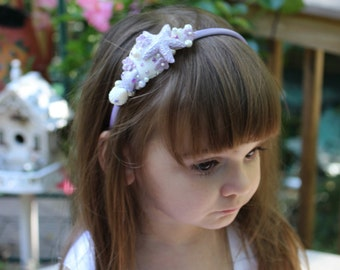 Lavender Seashell Headband /  Beach Wedding Flower Girl /  Beach Themed Wedding / flower girl hair / flower girl hair accessories /