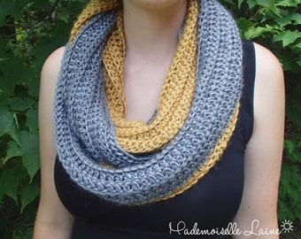 Infinity scarf gold and argent handknit with silk and baby alpaca yarn