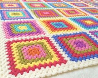 Retro Granny Blanket~ Colourful Squares Throw~ Crazy Colourburst Afghan~ Camping, Festivals, Garden, Home~ Made to Order~