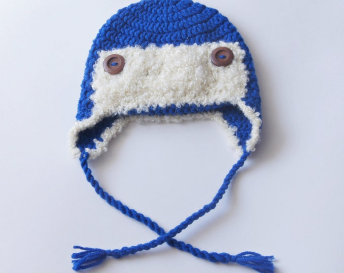 Baby Girl Boy Hat, Crochet Baby Beanie in Blue, Aviator Hat, Infant Hat, Toddler Hat, 3-6 Month, Ready to Ship