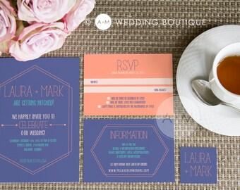 Wedding Invitation set, Boho Wedding Invitation, Printable Invitations, Modern invitation set : LAURA