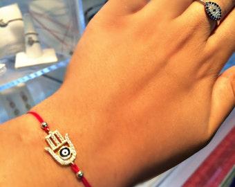 Hamsa Hand Evil Eye Bracelet Red String Sterling Silver Zirconia Crystals