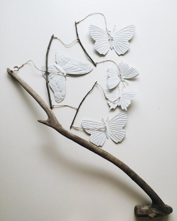 papillon b b berceau mobile w bois flott branche mural et. Black Bedroom Furniture Sets. Home Design Ideas