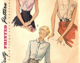 Simplicity vintage 1950s sewing pattern - dart-fitted blouse - Size 12