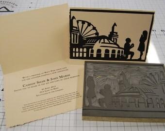 Custom Wedding Invitations - Custom Designed Block Print Invitations