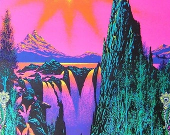 BIG Vintage 1970 Psychedelic~GARDEN Of EDEN~Blacklight Poster