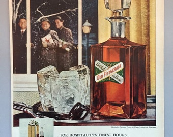 1958 Old Fitzgerald Whiskey Christmas Print Ad