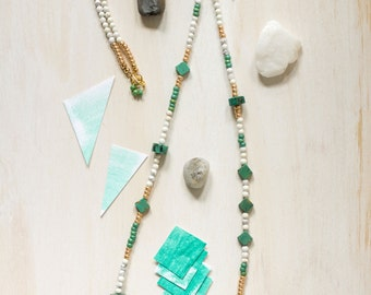 Natural Turquoise, African Turquoise, Brass, Howlite and Glass Bead Necklace