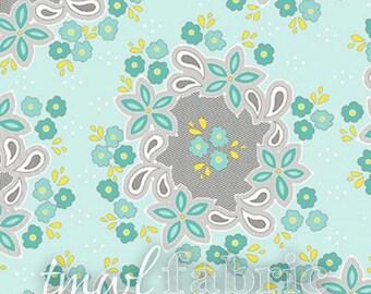 LAST CHANCE Woven Fabric - Sweet Harmony - Flower Pattern on Blue - Half Yard +