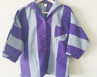 Vintage Retro 1980s Striped Blouse - Purple Gray - Collegiana