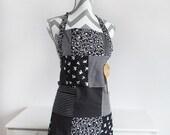 Women's Apron, Black & White Patchwork Style