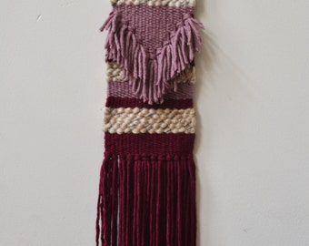 Woven wall hanging, wall hanging, weaving, wall art, mauve and wine