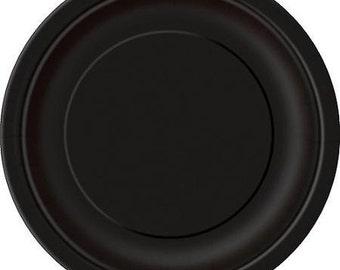 Black Dessert Paper Plates (7in.) 70ct
