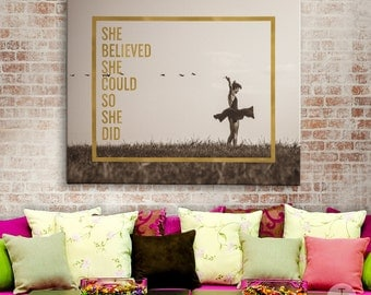 She Believed She Could So She Did, Faux Gold Foil, Inspirational Quote, Typographic Dorm Print, Dorm Motivational Print Gold and Sepia Print