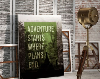 "Printable Nature Forest Inspirational Print ""Adventure Starts Where Plans End"" Quote Typography Art, Forest Home Decor, Nature Typography"