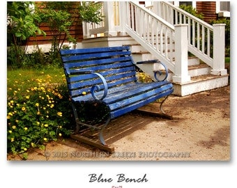 Blue Bench - Fine Art Photography, Archival Photo Print, 5x7, 8x10, A6 Stationery