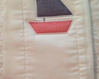 Sailboat Baby Burp Cloth