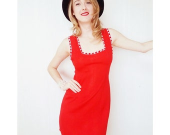 Vintage Mini Dress Women's Clothing/Vibrant Red/Dresses from Rio