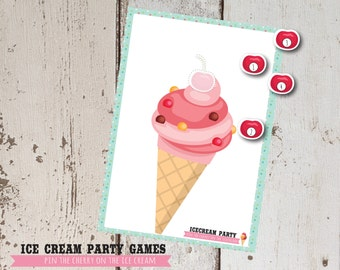 Ice Cream Party Game, Pin the Cherry on the Ice Cream, party Printable, INSTANT DOWNLOAD, Cute Party Game
