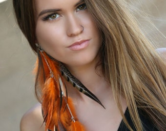 Orange Feather Earrings, orange long earrings,orange and black earrings, boho earrings, long earrings, unique earrings, gypsy earrings