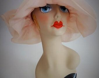 Hat #119 ~ Vintage Pink Organdy Portrait Hat w/Double Ruffle Brim & Bow