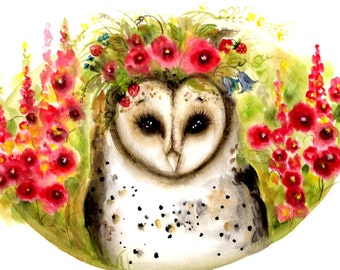 owl painting watercolor Owl in hollyhocks owl in flowers watercolor painting original watercolor