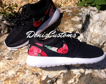 SALE!!! Womens 7 US 38 EUR size. Nike Roshe Run One Black with Custom Red Pink Rose Floral Print. Ready to ship !!!