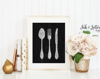 Silverware Art Silverware Chalkboard Printable Kitchen Wall Art Fork Art Kitchen Decor Wall Decor Instant Download Digital 8x10