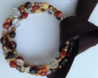 Brown Orange Yellow Czech Glass Beaded Memory Wire Bracelet