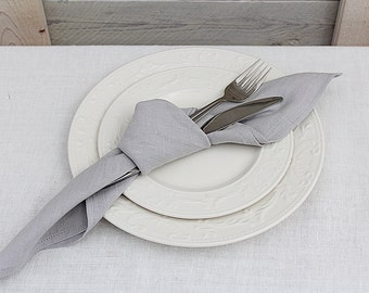 Linen napkins set of 6. Silver Grey. Hand made by LinenSky.