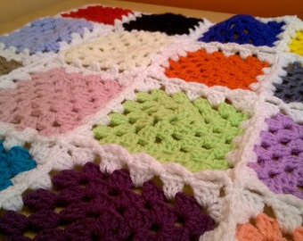 Crochet Blanket Patchwork Granny Square Throw Afghan