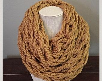 Golden Mustard Cozy Arm Knit Infinity Scarf