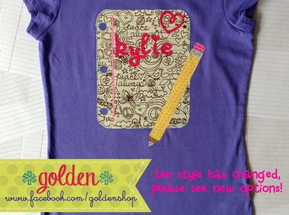 Back to School Name Handwriting, Pencil and Paper Tee or Dress, First day of school